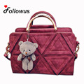 Women Shoulder Bag New Design Patchwork Decoration Ladies Party PU Leather Bear Pendant Solid Messenger Tote Bags Free Shipping