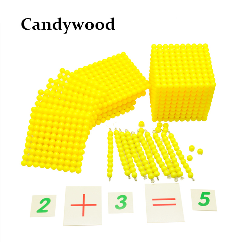 Professional Montessori Math Materials Base Ten System font b Digital b font Cards Beads Toys Kids
