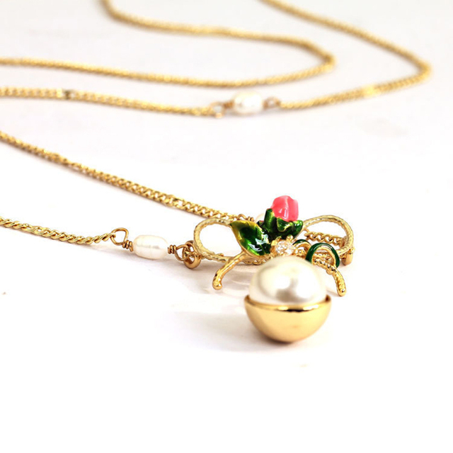 Sale LES Nereides New Love Of Symbol Series Rose Flower Pearl Pendant Necklace Clavicle Chain Fashion Gold Plated Woman Jewelry