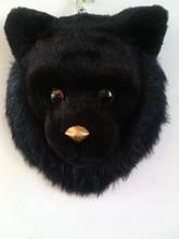 about 24x24cm simulation black bear head model toy polyethylene & furs model,wall pendant ,home decoration gift t365