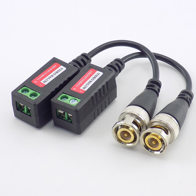 1pair BNC Video Balun Connector Passive Transceiver 3000FT Distance UTP Balun Male BNC CAT5 Cable For CCTV Camera Accessories