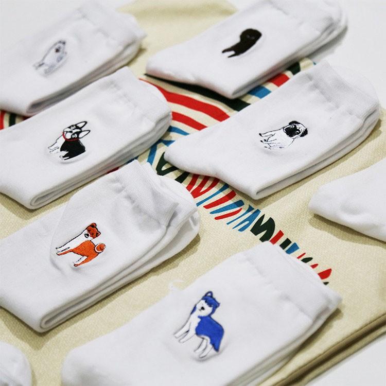 cute animal husky embroidery women cotton white socks lovely dog Jacquard female pure color socks funny kawaii pug meias soks 5
