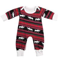 2017 Christmas Family Matching Clothing Deer Printed Sleepwear Baby Jumpsuit For Your Baby Christmas Clothes