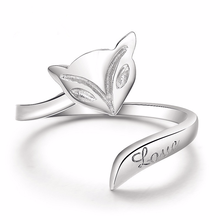 Silver 925 jewelry Fox opening adjustable rings sterling silver two-piece set 7.7 g Costume gold Luxury jewelry36363