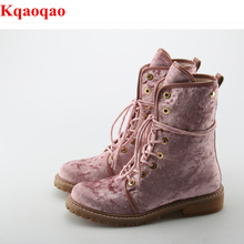 Front Lace Up Butterfly Knot Women Boots Round Toe Suede Shoes Low Heel Short Booties Luxury Brand Super Star Chaussures Femmes