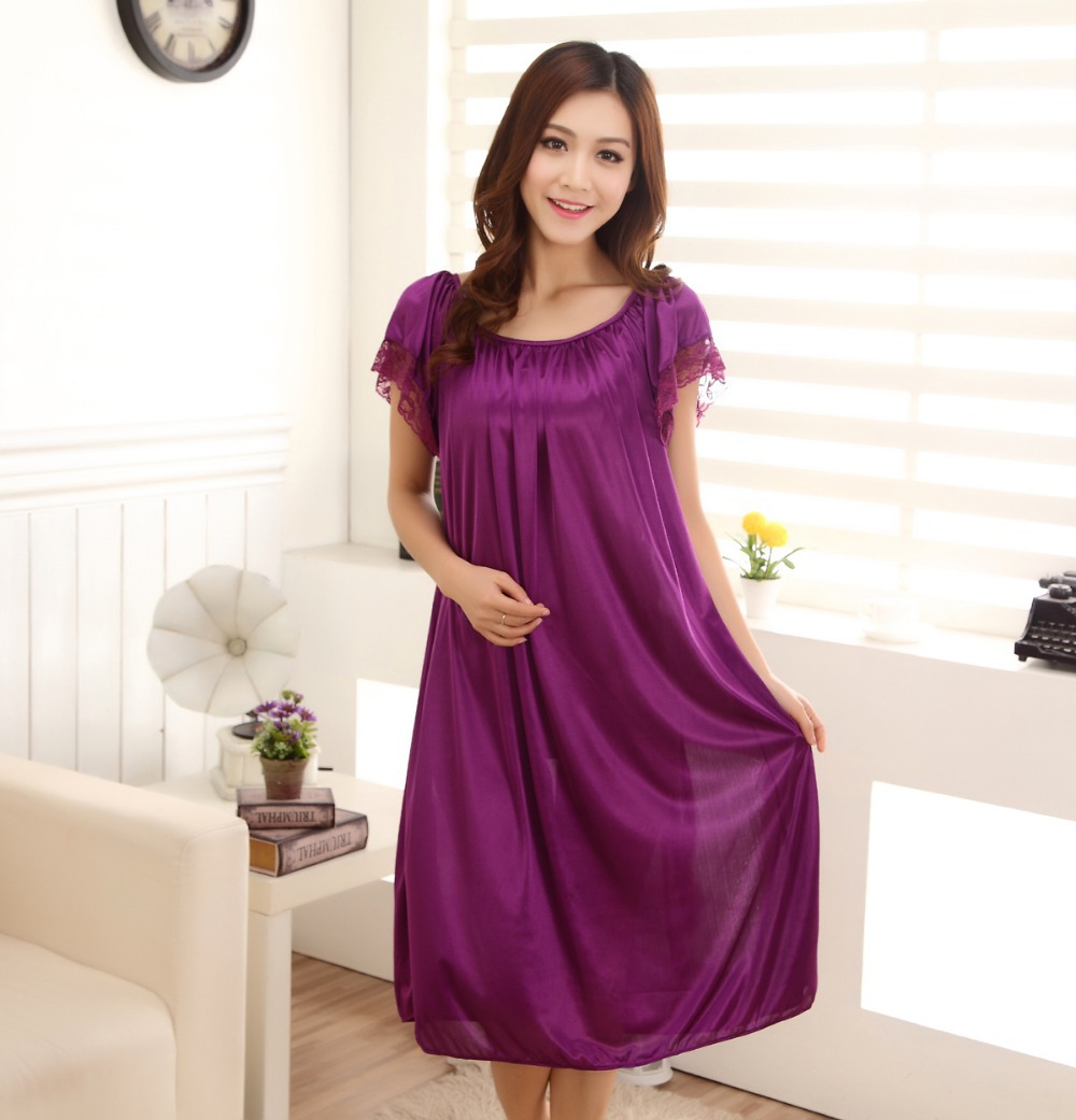 Free Shipping New Women Summer Plus Size Ice Silk Nightgown Female Large  Size Short Sleeve sleepwear Six Color Leisure Dress-in Nightgowns    Sleepshirts ... 7de7150ab8fe