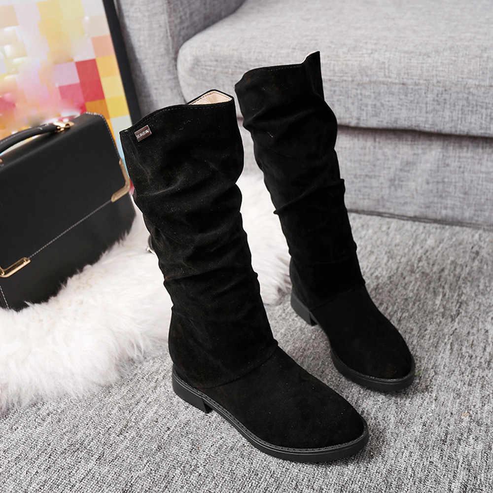 Marca CAGACE 2018, botas de Otoño Invierno para mujer, botas para mujer de punta redonda a media pantorrilla, botas de princesa dulces, zapatos planos elegantes con bandada, botas de nieve