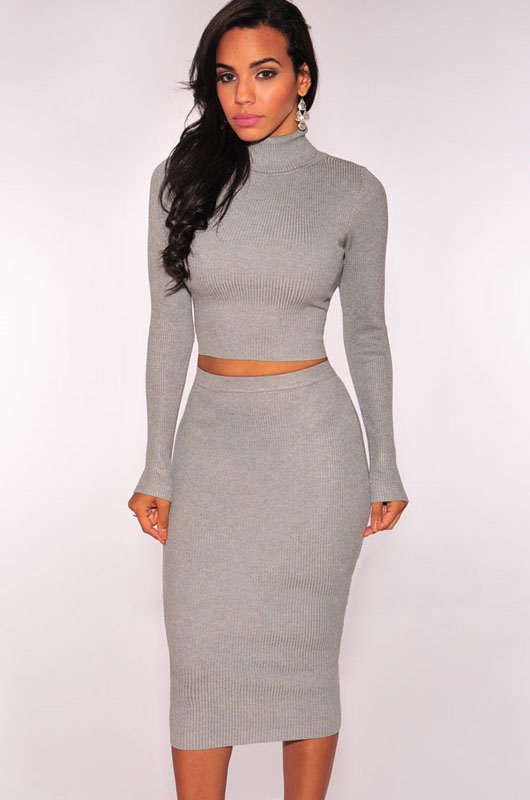 3a562962dc3 Red Black Grey Ribbed Knit Turtleneck Sweater Dress Women Long Sleeve High  Waisted Cropped Outfit Two Piece Bodycon Dress Q27615-in Dresses from  Women s ...