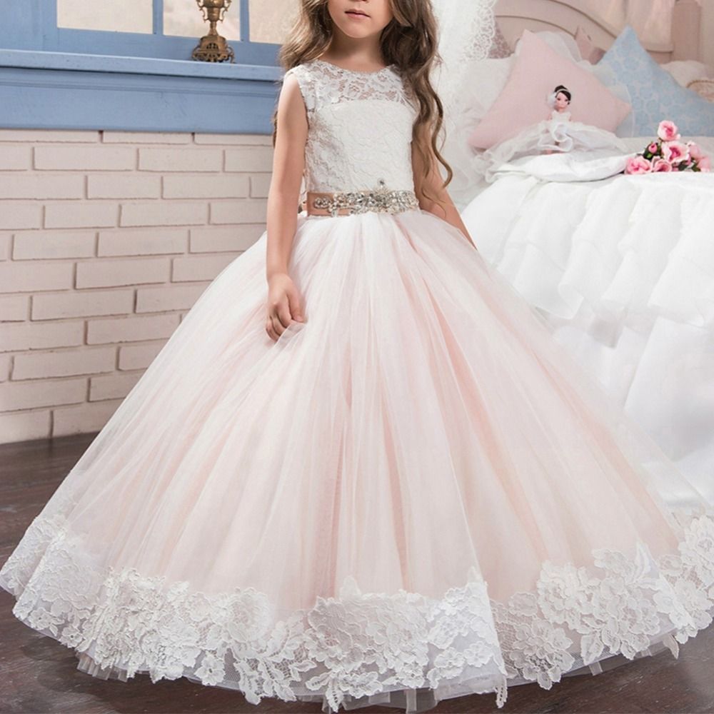 Elegant Baby Kid Girls Dress Tulle Ball Gown Sleeveless