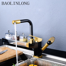 BAOLINLONG Space Aluminum adjustable Kitchen Faucet accessories Cozinha Swivel Spout Kitchen Sink Pull Out Faucet Tap uythner gold polish swivel spout kitchen sink faucet pull down sprayer fashion design bathroom kitchen hot