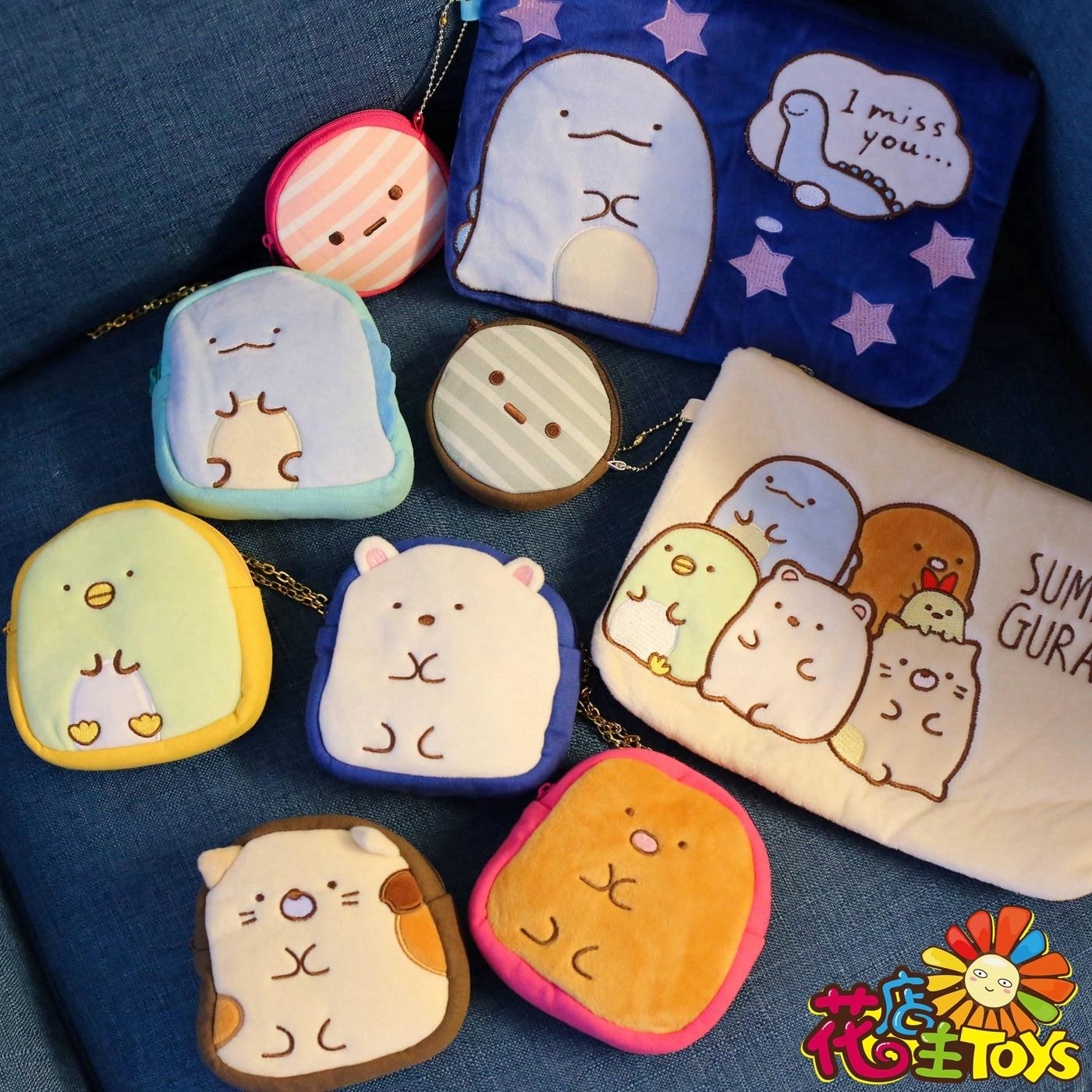 1 Pc San-X Kawaii Japan Corner Biology Plush Coin Purse Japanese Animation Sumikko Gurashi Animal Cartoon Bag Plush Toys