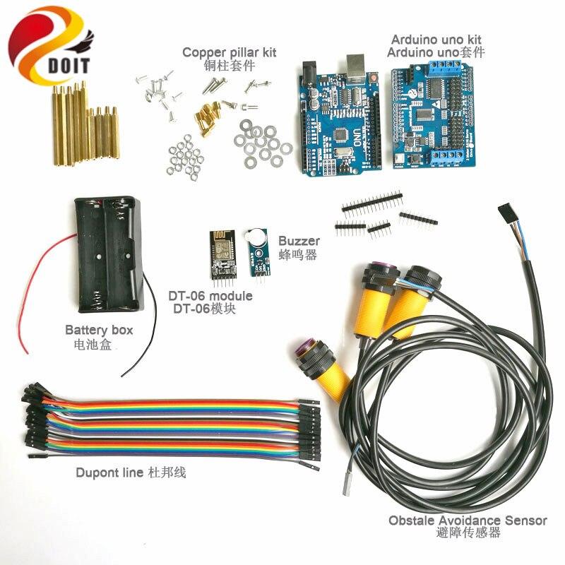 1 kit de développement WiFi avec carte UNO + évitement d'obstacle IR + carte d'entraînement de moteur pour châssis de Robot de réservoir intelligent