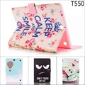 "Fashion Cute cartoon wallet with card slot leather stand case cover for samsung GALAXY Tab A 9.7 T555 T550 9.7"" tablet with pen"