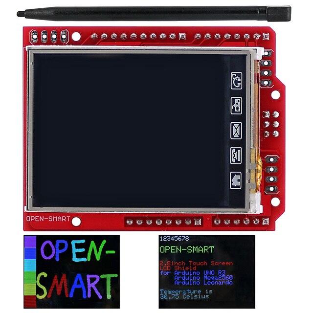 2.4 אינץ TFT LCD תצוגת מודול מגע מסך מגן ILI9340 IC המשולב טמפרטורת חיישן + עט עבור Arduino UNO R3 /מגה 2560 R3