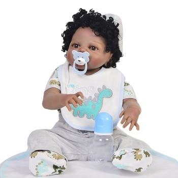 Simulation Baby Doll Soft Vinyl Silicone Black Skin Reborn African Baby boy doll curly Hairt For Kids bebe Gift reborn menino