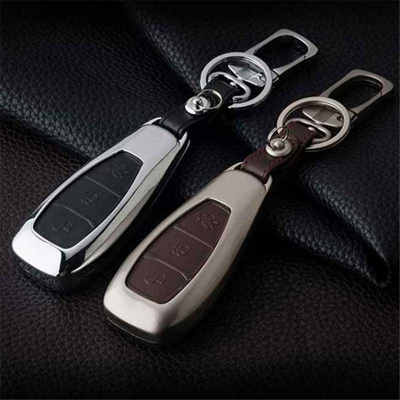 Peacekey Zinc Alloy Leather Car Key Case For Ford Mondeo Mk4 Focus 2 3 4 St Kuga Fiesta Fusion Ecosport 2012 2013 2014 2015 Key