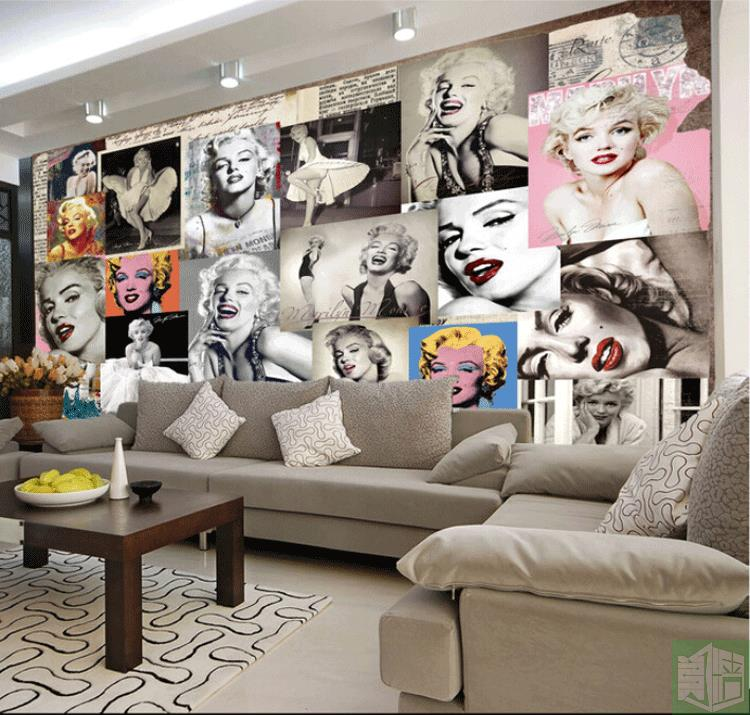 High Quality Free Shipping Marilyn Monroe Retro Wallpaper European Retro Background  Wallpaper Living Room TV Wall Mural Wallpaper Amazing Ideas