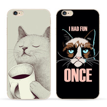 Cute Cat with cup Pattern Case Cover For iphone 6 6S 5 5s se 7 7PlusTransparent Soft Silicone Cell Phone Cases