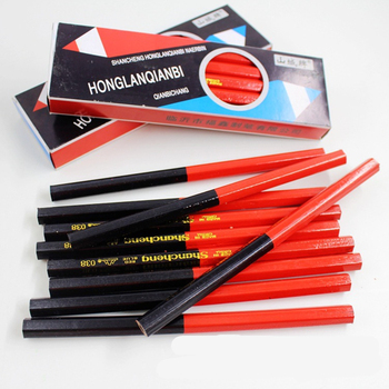 10PCS/lot wooden Hexagon red&blue double colored pencils HB Carpenter's Special-purpose pencils high quality Drawing pencil set csqb024 24 in 1 colored drawing pencils set