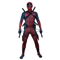 Deluxe Deadpool Costume Adult Lycra Spandex Zentai Outfit 3D Style Jumpsuit Halloween Superhero Cosplay Costume With