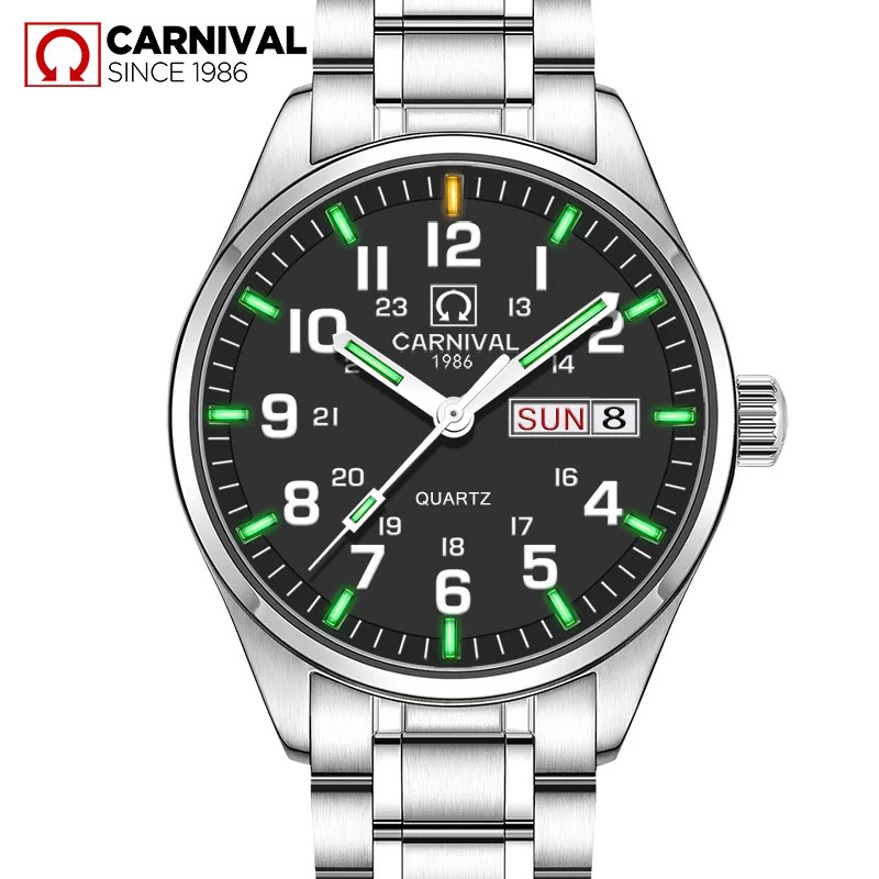 Carnival Green Tritium Light Watch Men Quartz Tritium Luminous Waterproof Stainless Steel Date Week Black Dial Watches carnival green tritium watch men automatic mechanical luminous silver stainless steel waterproof date week watches