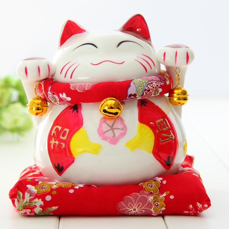 Crafts Arts Home decoration Ceramic Lucky Cat ornaments large Japanese ceramic piggy piggy bank creative gift shop opened decora