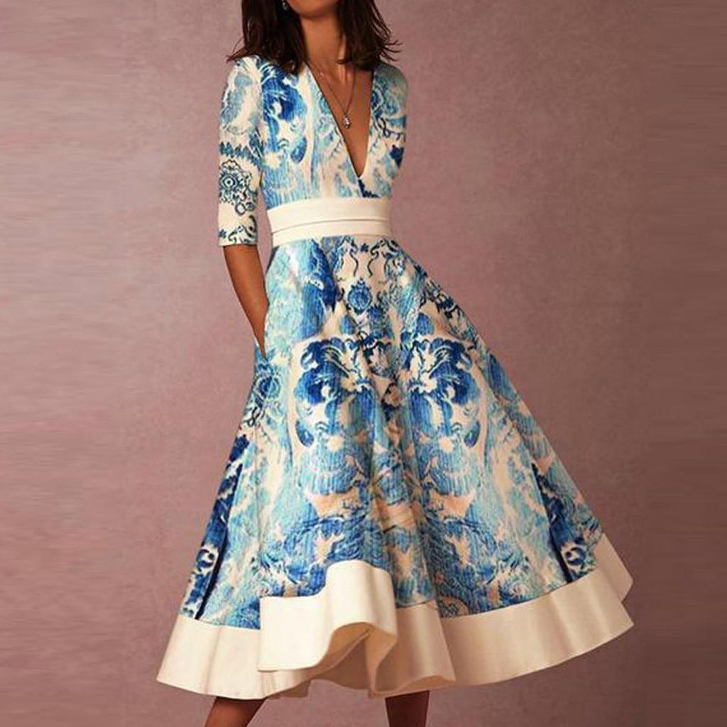 Vintage Dress Women Fashion Deep V-Neck Half Sleeve Printed Evening Party Dresses Elegant Ladies Formal Dress Vestidos Femme