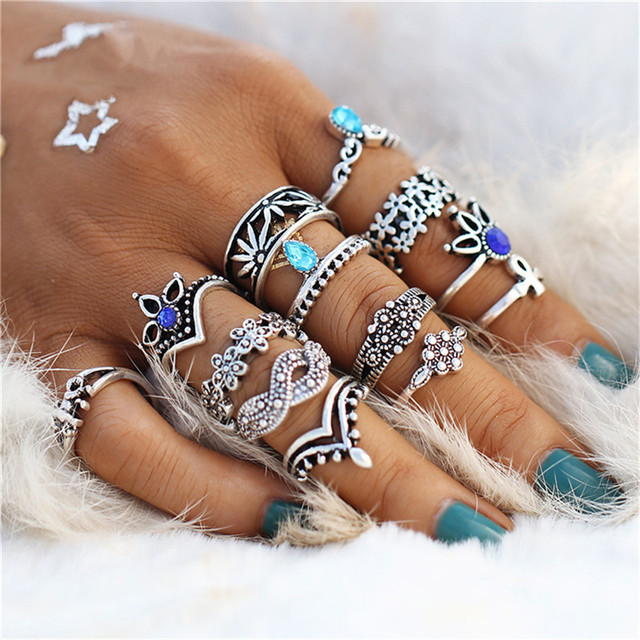 Bohemian Crystal Ring Stack - 13 Piece Set