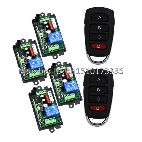 AC 220V 1channel 10A rf wireless remote control switch system 4 Receiver & 2 Transmitter 315MHZ/433 MHZ 24v 4 channel rf wireless remote switch control light switch system 4 ch receiver 2 transmitters in 433 92mhz
