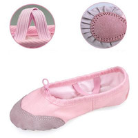 Non Slip Children Flats Ballet Shoes Girls Canvas Leather Dance Shoes Red Pink White Black Womens