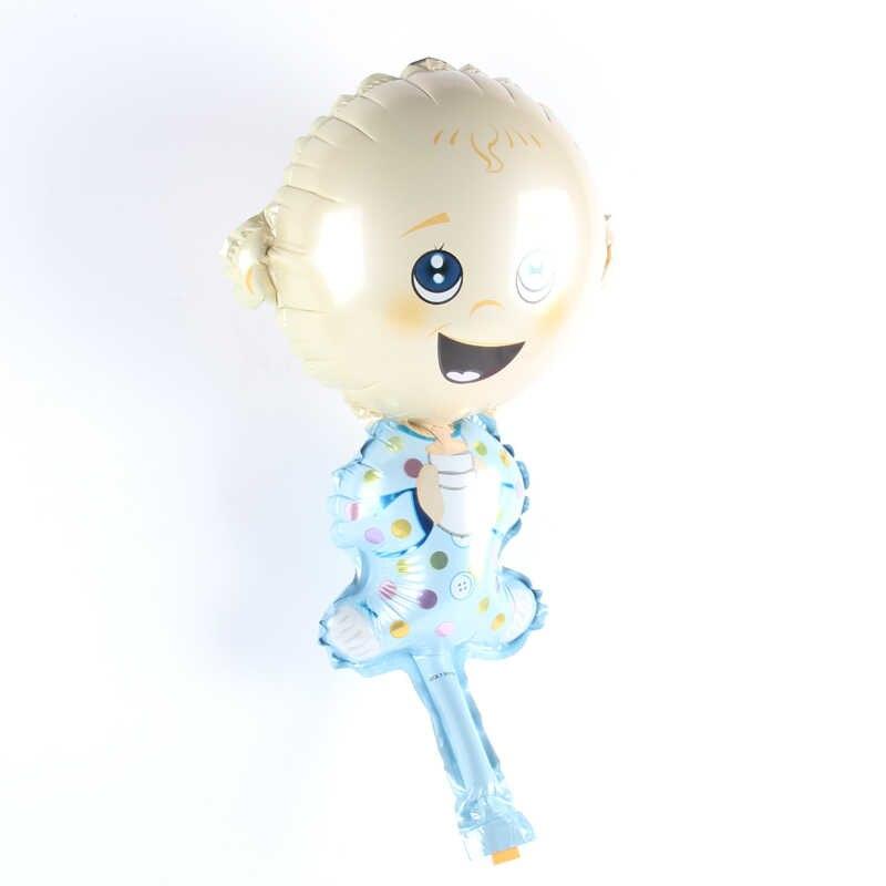 1 шт мини-смеясь для маленьких мальчиков мультфильм ручной воздушный шар Фольга шары Детский наряд для дня Рождения вечерние декоративные воздушные шары игрушки для вечеринки перед рождением ребенка поставки