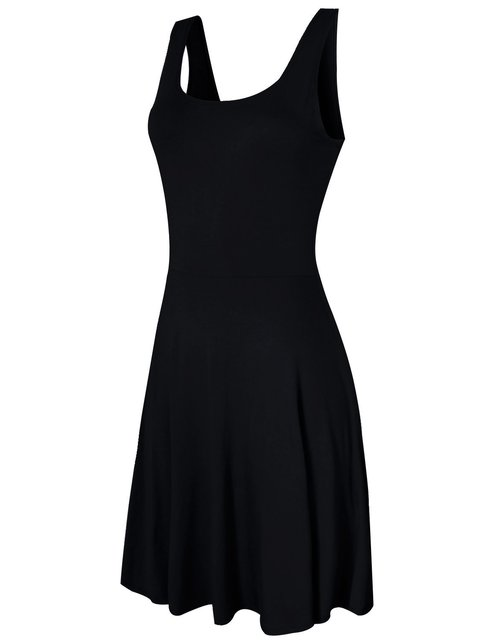 Little Black Dress Pleated Tank Dress Casual Simple Cotton Solid