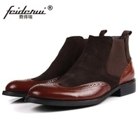RUIMOSI New Luxury Brand Man Brogue Oxford Shoes Male Designer Genuine Leather Suede Men S Round