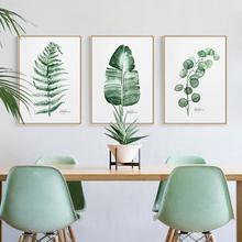 Watercolor Tropical Plant Turtle Leaves Wall Art Canvas Painting Nordic Poster Pictures For Living Room Home Decor Unframed