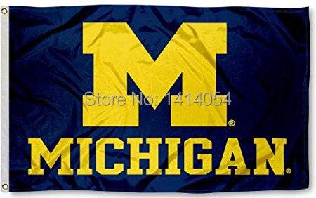 Universidad de Michigan Wolverines bandera 150x90 cm 3X5FT banner 100D grommets del poliester custom009, envío libre