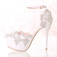 2017 White Diamond Wedding Shoes High Heels Wristband Waterproof Shoes With Fine Crystal Bride Dress Shoes