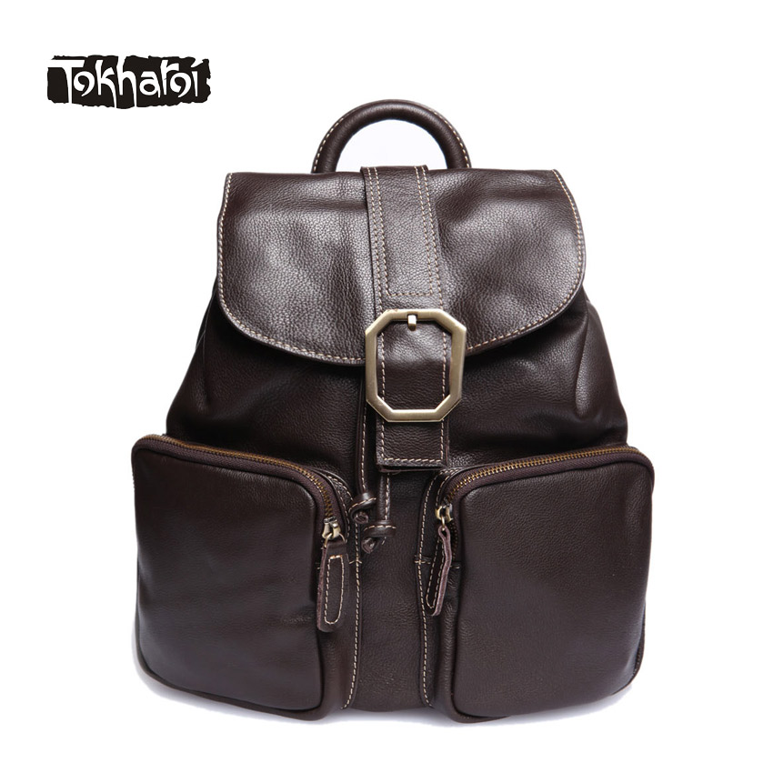 Tokharoi Women Genuine Leather Bags Fashion High Quality Cow Leather Solid Luxury Backpacks Button Ribbons Lock