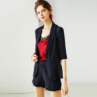 In the summer of 2019 the new women's temperament OL printed silk suit shorts female two piece suit R11141