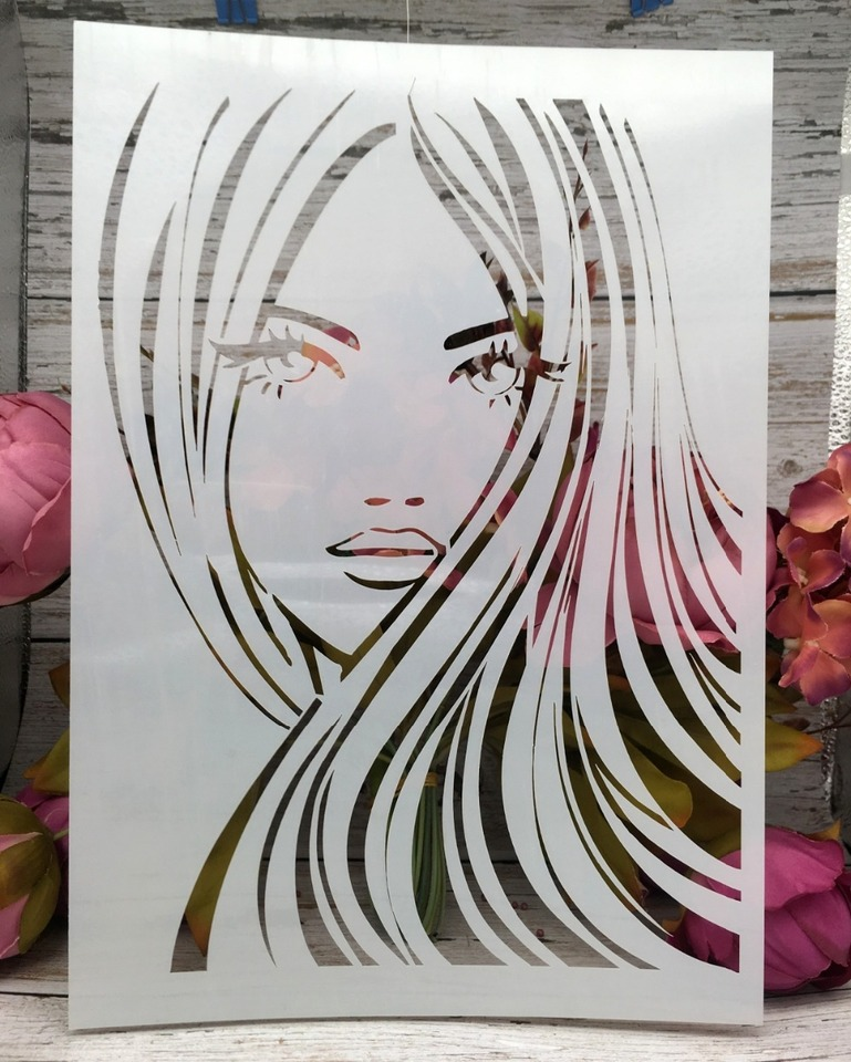 A4 Long Hair Girl Diy Layering Stencils Wall Painting Scrapbook Coloring Embossing Album Decorative Paper Card Template Aliexpress