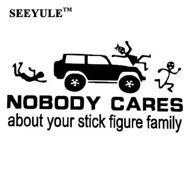 1pc seeyule nobody cares about your stick figure family car stickers automobiles decal car styling trunk