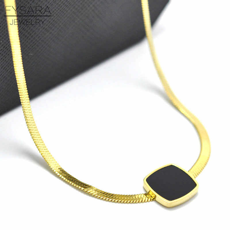 FYSARA Silver Gold-Color Flat Snake Bone Necklace For Men Women Jewelry Black Square Pendants Necklace Filled Chain Necklace