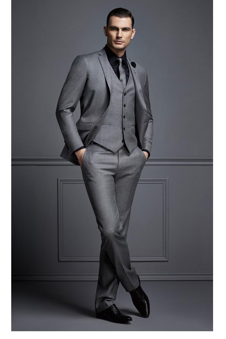 2018 Latest Coat Pant Designs Smoking Grey Men Suit Slim Fit 3 Piece