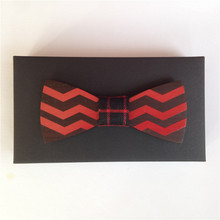 Wooden Bow Tie Red Wine Style
