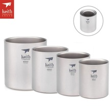 цена на Keith 4 pcs/set Titanium Double Walled Cups Set Outdoor Camping Insulated Water Mug Stackable Cups Set Ti3501