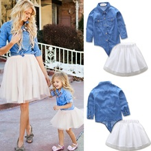 Fashion Family Set Denim Tops & Mesh Bottom 2pcs Mother Daughter Dress Mom and Clothes Clothing Sets IT8