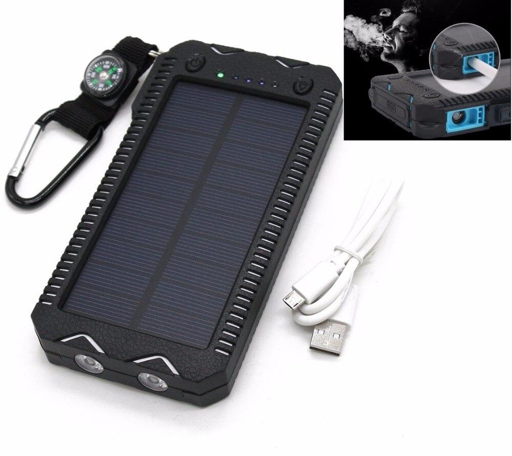 Dual USB Ports Solar Charger Power Bank W Cigarette Lighter Port Flashlight LED Portable font b
