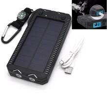 EIKE Dual USB Ports Solar Charger Power Bank W/Cigarette Lighter Port Flashlight LED Portable Powerbank For Xiaomi Huawei iPhone