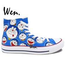 Wen Custom Hand Painted Athletic Sneakers Comic Doraemon Facial Expressions High Top Girls Boys's Outdoor Sports Canvas Shoes