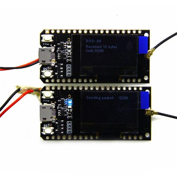 2 pièces TTGO LORA32 868/915 Mhz ESP32 LoRa OLED 0.96 pouces bluetooth bleu panneau de développement d'affichage Module