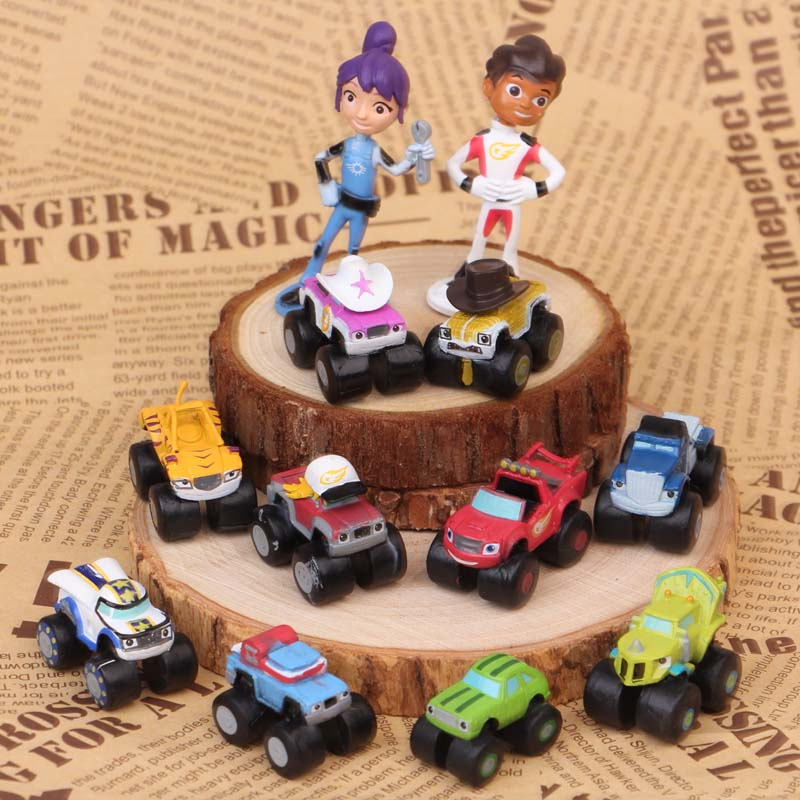 12pcs/Lot 3-7cm Blaze And The Monster Machines Russian Miracle Vehicle Car Classical Toys Action Toy Figures Best Gifts For Kids